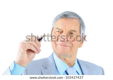 Businessman in age. Isolated on a white background. - stock photo