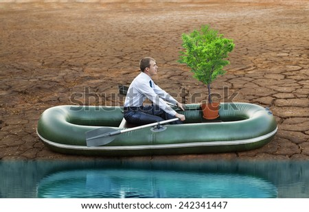 businessman in boat rocks look bright future symbol save alone tree crisis stagnation losses braking difficulties environmental disaster water scarcity drought man will rows home for shore in boat - stock photo