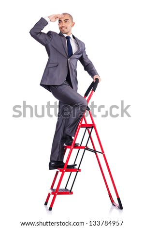 Businessman in career ladder concept - stock photo