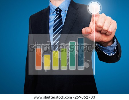 Businessman in dark suit pushing button, visual screen Growth graph going up. Blue background - stock photo