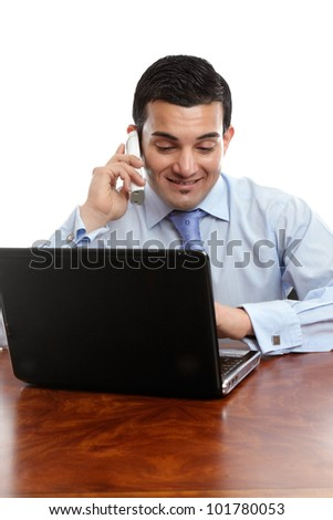 Businessman in discussion with a client, customer, contractor or other business person on the telephone.  White background. - stock photo