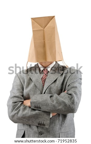 Businessman in ecological paper bag on head and crossed arms. - stock photo