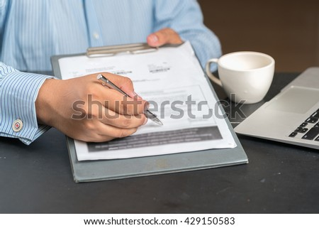 Businessman in elegant suits working with documents sign up contract   - stock photo