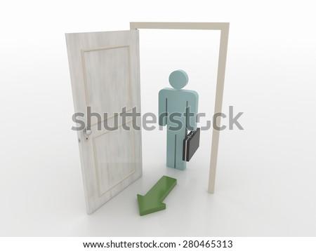 Businessman in Front of an Open Door with Green Arrow Symbol, 3D Render - stock photo