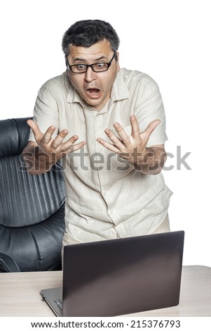 Businessman in glasses looking at his hands and shouting, isolated on white background. - stock photo