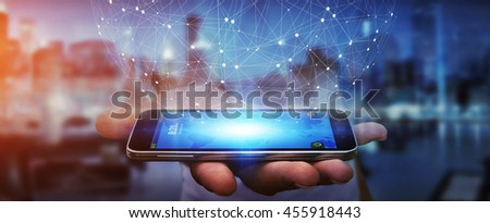 Businessman in office touching digital data network with his mobile phone '3D rendering' - stock photo