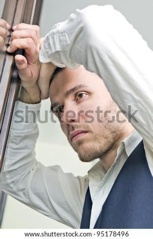 businessman in stress - stock photo