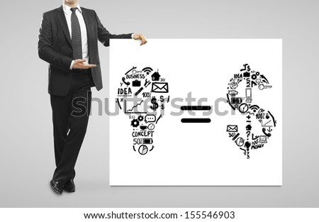 businessman in suit and placard with business formula - stock photo