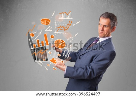 Businessman in suit holding notebook with graphs and statistics - stock photo