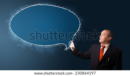 businessman in suit presenting speech bubble copy space - stock photo