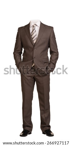 Businessman in suit without head, standing with hands in pockets. Isolated on white background - stock photo