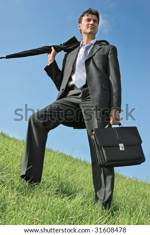 Businessman in the meadow - stock photo