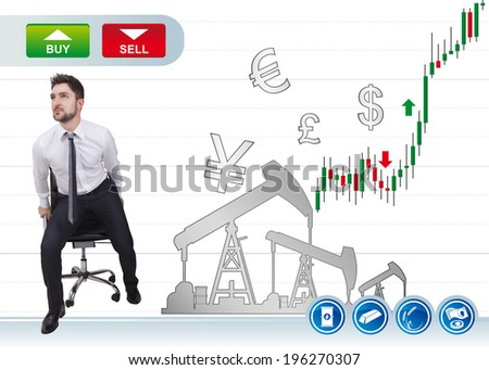 businessman in trading on a buy an sell button - stock photo