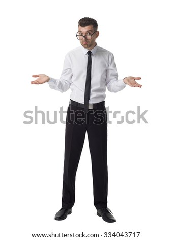 Businessman incomprehension gesture Full Length Portrait isolated on White Background - stock photo