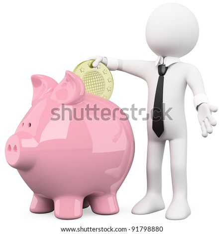 Businessman inserting a coin in a pink piggy bank - stock photo