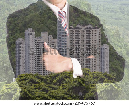 Businessman investment property concept with multiple exposure - stock photo