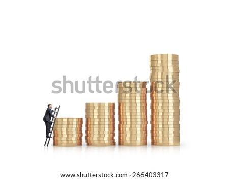 Businessman is climbing to the financial success. Isolated on white - stock photo