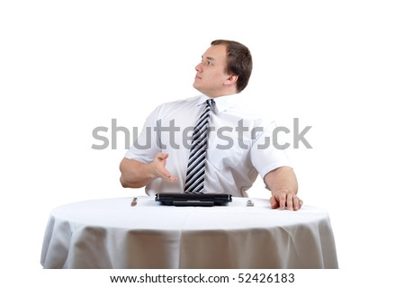 Businessman is complaining, isolate white background. - stock photo