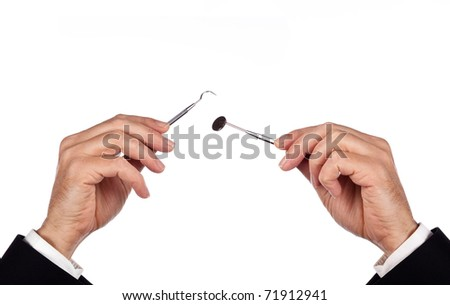 businessman is doing research looking for the problem - stock photo