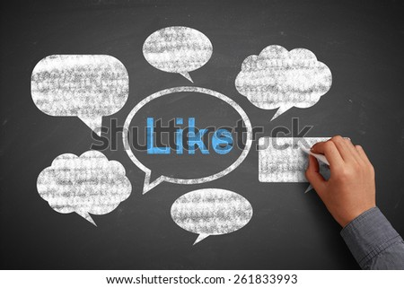Businessman is drawing social media concept on blackboard with chalk. - stock photo