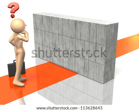 Businessman is having trouble with interference path. - stock photo