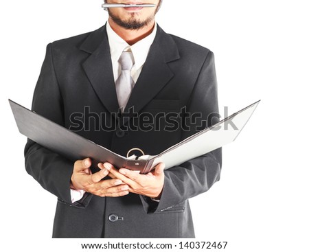 businessman is holding folders - stock photo