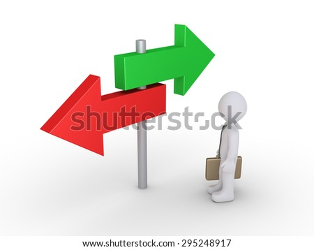 Businessman is looking at two signs pointing at different directions - stock photo