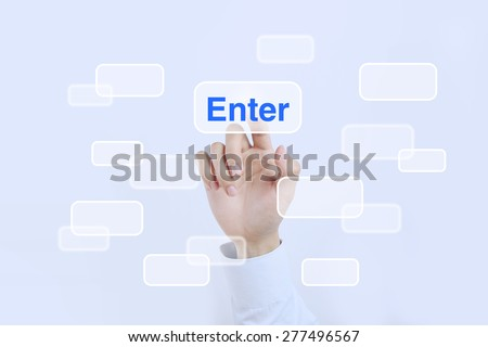 Businessman is pressing the enter button on the transparent screen. - stock photo