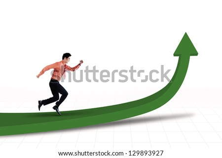 Businessman is running toward the goal on white background - stock photo