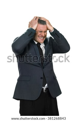 Businessman is shocked. Adult man has failed. Everything is lost. The boss is terrified. - stock photo