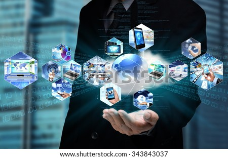 Businessman is showing the power of the internet cloud computing in his hand. - stock photo
