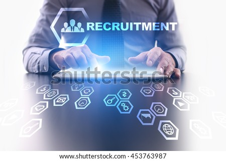 Businessman is using modern tablet pc and selecting Recruitment concept.  - stock photo
