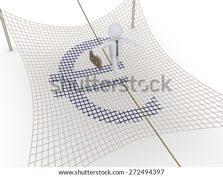 Businessman is walking on a tightrope with safety net underneath - stock photo