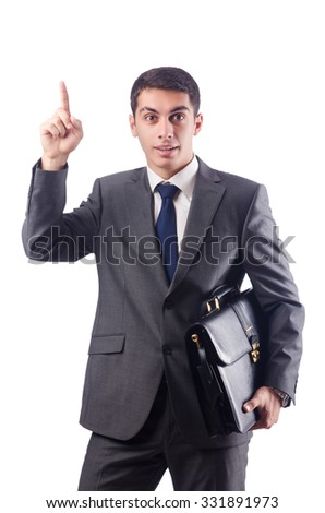 Businessman isolated on the white - stock photo