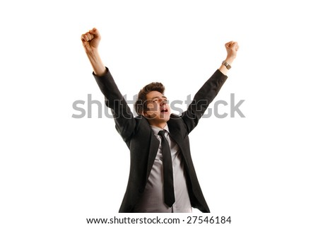 Businessman isolated on white background, rejoicing - stock photo