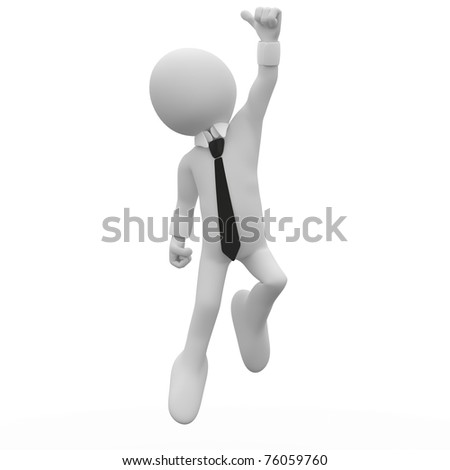 Businessman jumping for joy, with the thumb up - stock photo