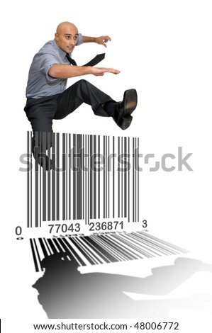 Businessman jumping over a bar-code isolated in white - stock photo