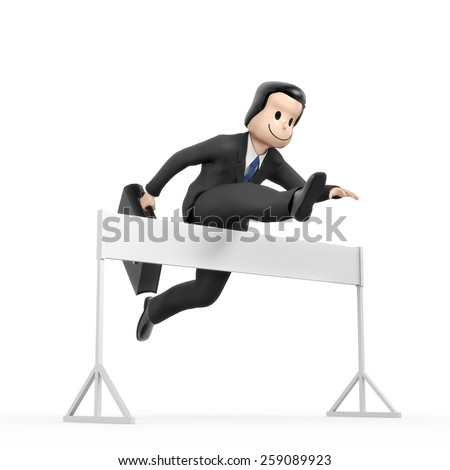 Businessman jumping over hurdle - field blank - stock photo