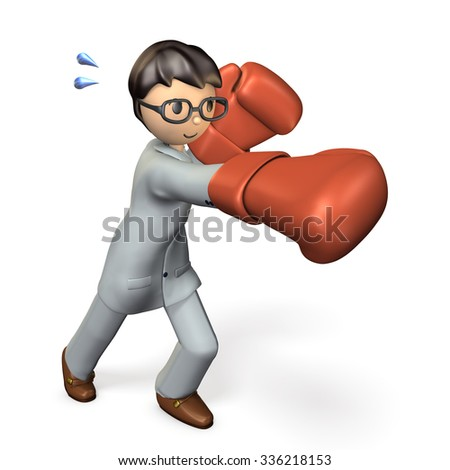 Businessman knocked out the enemy. isolated, computer generated image  - stock photo