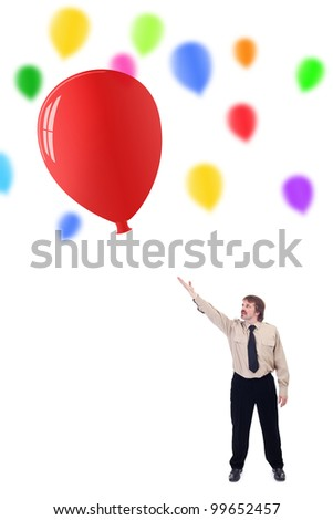 Businessman launching new ideas concept - with colorful balloons - stock photo