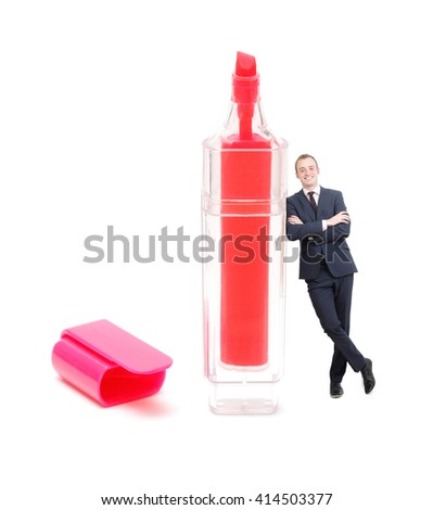 Businessman leaning on marker on white - stock photo