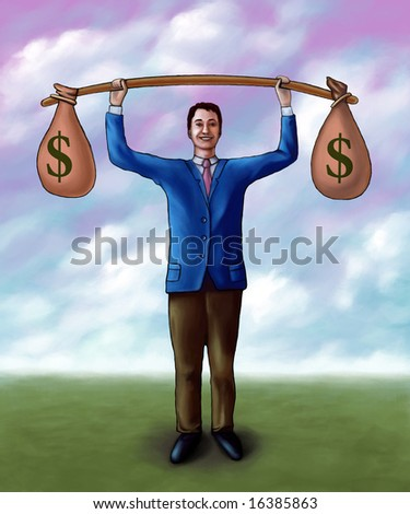 Businessman lifting two money bags. Mixed media illustration. - stock photo