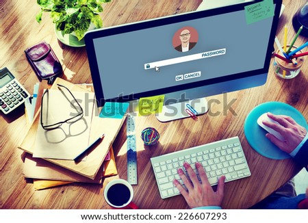 Businessman Log In Computer Password Concept - stock photo