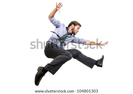 Businessman long-jumping isolated in white - stock photo