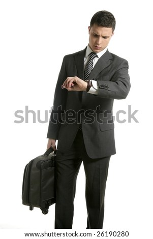 Businessman look his watch with handbag isolated on white - stock photo