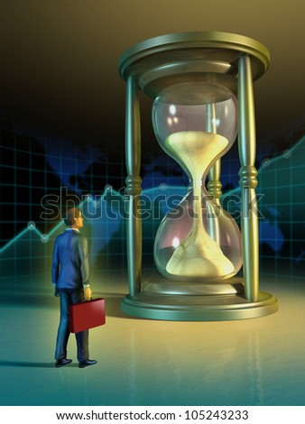 Businessman looking at a giant hourglass. Digital illustration. - stock photo