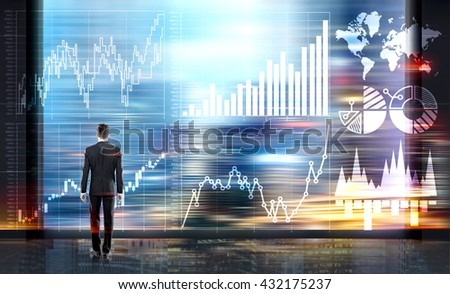Businessman looking at abstract business chart on blurry city background. Fund management concept - stock photo