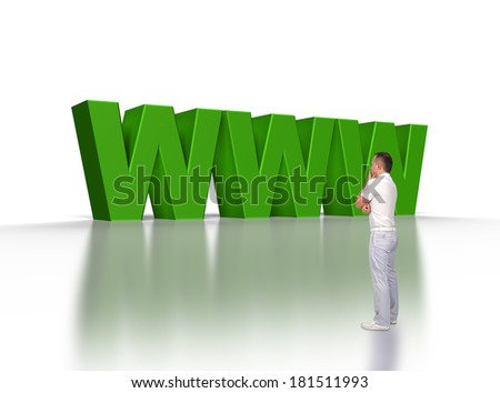 """businessman looking at big 3d text """"www"""" - stock photo"""