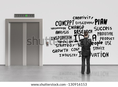 businessman looking at drawing business tags - stock photo