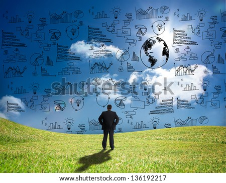 Businessman looking at graphs and data in the sky while standing in a field - stock photo